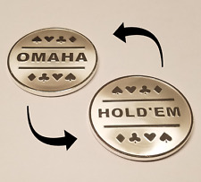 1x Omaha & Texas Hold'em Silver Plated Metal Dealer Button for Round by Round