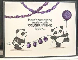 Panda Handmade Greeting Card, birthday humor party celebrate funny purple