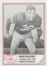 CFL HALL OF FAME MARTIN RUBY SASKATCHEWAN ROUGHRIDERS #B-10 LIMITED EDITION CARD