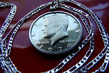"USA Proof John F Kennedy Half Dollar Pendant on a 30"" 925 Sterling Silver Chain"