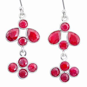 9.72cts Natural Red Ruby 925 Sterling Silver Chandelier Earrings Jewelry T12425