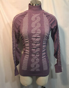 Athleta Womens Seamless Comet Long Sleeve Active Top Shirt Purple Small Stretchy