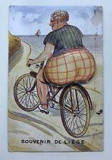 Vintage Postcard Woman on Bike Belgium Souvenir De Liege Posted 50 Cent Belgie