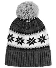 9efd6d7d86a  102 CLUB ROOM Men NEW UNISEX GRAY BLACK POM WINTER FAIR ISLE HAT CAP BEANIE  O