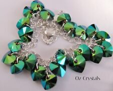 Heart Charm Bracelet made with Swarovski Scarabaeus Green & 925 Sterling Silver