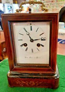 Henri Marc Paris Rosewood Mantel Clock. 8 Day Movement. Circa 1860