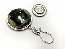 Handmade Magnetic Portuguese Knitting Pin- Cat with Blue Eyes- ID Badge Holder