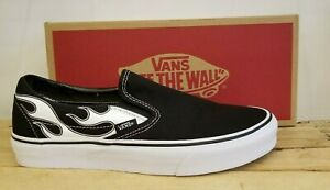 Vans Classic Slip-On Black/Flame Canvas Skateboarding Lifestyle Shoes for Men