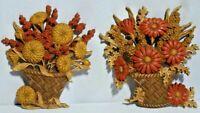 "Vtg Burwood Plaques ""Flower Baskets"" Hanging Wall Art / Fall Autumn Decor 70's"