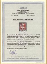 DDR 329 vb Y  Köpfe II gutes Wasserzeichen geprüft Attest Schönherr gestempelt