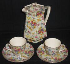 ~RARE Royal Winton Grimwades China Chintz FIREGLOW Coffee Tea Pot Cup & Saucer~