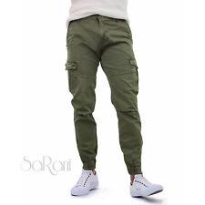 Pantalones De Hombre con los bolsillos Lateral Gris Verde Algodón Casual