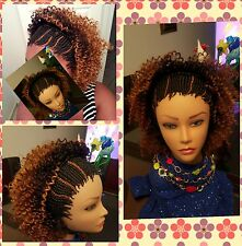Fully Braided  Half Cornrow  Jerry curl Wig   #1,30, & OP430