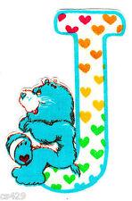 "4"" CARE BEARS ALPHABET ABC'S LETTER J NAME MONOGRAM FABRIC APPLIQUE IRON ON"
