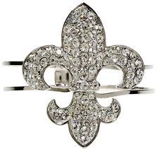 De Lis Cuff Style Bracelet Silver Tone and Rhinestone Encrusted Fleur