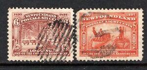 Newfoundland 1897  6c. Logging and 8c. Fishing SG71-72 Used