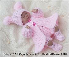 "Babydoll Handknit Designs Knitting Pattern Pretty Pram Set B52 for 7-12"" Doll"