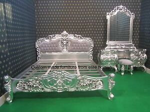 French style BESPOKE Custom made Any Size Any Colour (not leaf) Rococo Bed set