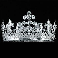 Men Silver King Crown Medieval Pageant Wedding Full Circle Party Tiara T1714