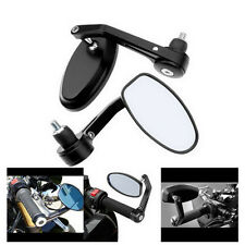 "2x 7/8"" Aluminum Rear View Side Mirror Handle Bar End Oval Black For Motorcycle"