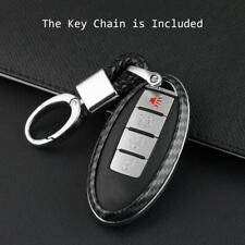 1Pc Carbon Fiber Car Key Chain Ring Keyring Case Cover Shell For Nissan Infiniti