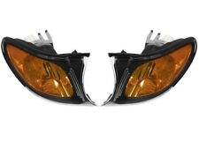 Set Front Left & Right Genuine Black Trim Turn Signal Yellow Lights for BMW E46
