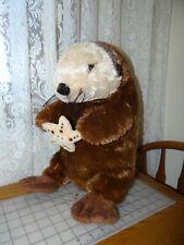 "Rare 24"" long Plush Sea Otter Holding Plush Happy face Starfish in Front Paws"