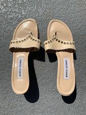 Vintage 90s Manolo Blahnik Tan Metal Heels Sandals Shoes Womens Size 37.5 - US 7