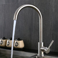 Stainless Steel Kitchen Sink Faucet Basin Mixer Tap Swivel Spout Nickel Brushed