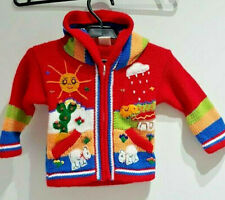 Made in PERU Red Colorful Kids Hooded Sweater Pockets PERUVIAN KIDS 100% Wool