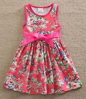 Girls Pink Summer Dress - Age 3 4 5 6 7 Yrs Kids New Floral Ribbon Party Clothes