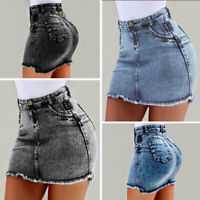 Womens Denim Jean Mini Skirt Girls Mid Waist Casual Party Bodycon Short Dresses