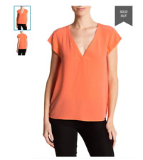 91a68b2a45c225 Joie  Rubina  Silk Top Deep V-Neck Blouse Hot Coral Seen on TV