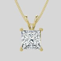 G-H/SI1 Natural Enhanced Diamond Pendant 1 Carat Princess Cut 14K Yellow Gold