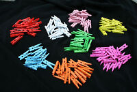 "50 Mini Wood Clothes Pegs 25 mm 1"" Various Spring Colours Scrap Booking Crafts"