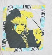 LADY GAGA / THUNDERBOLT / POP ART / GRAPHIC / LADIES WHITE T-SHIRT SIZE S