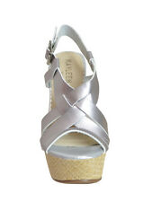 New Womens Strappy Straw Wedge Platform Sandals Silver Size 9