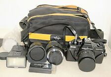 Praktica BMS Electronic Camera, 3 Lenses, Flash, 3 colour filters and bag +