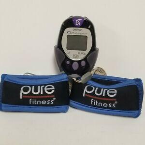OMRON G Walking Style HJ-720IT Digital Pocket Pedometer + 2 - 8oz wrist weights