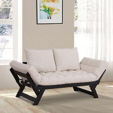 Schlafsofa 2-Sitzer Sofabett Stoffsofa verstellbar Leinen Creme