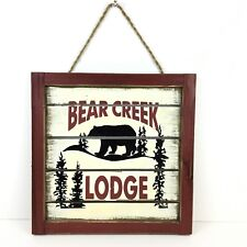 Rustic Lodge Bear Creek Wooden Sign Lake Log Cabin Decorative Plank Style Plaque