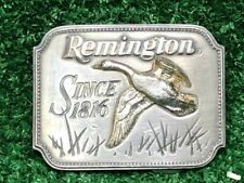 Vintage Remington Belt Buckle Since 1816 Canada Goose Pewter By Sid Bell 1980