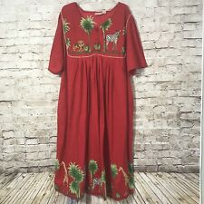 Vermont Country Store Muumuu Patio Dress Womans Plus 3X Red Africa Cotton Safari