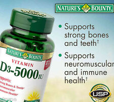 300 Nature's Bounty Vitamin D3 5000 IU D 3 Bone Immune Colon Health 300 Softgels
