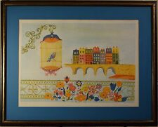 Judith Bledsoe Limited Edition & Signed Lithograph Framed! Caged Bird & City COA