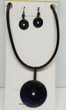 Necklace & Earrings Set 16'' >New< Womens Textured Wafer Pendant Leather Rope