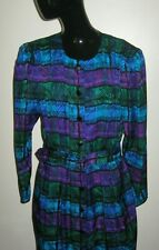 Vintage Adrianna Papell Size 14 100% Silk Multi-color Belted Shirt Dress