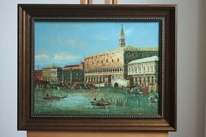 "Framed oil on board famous paintings Venice landscape old building 12""x16"""
