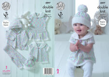 Baby Double Knitting Pattern Pleated Dress Top Hat & Leggings King Cole DK 4897