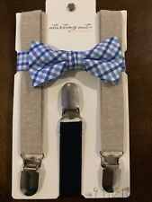 NEW Starting Out Accessories Baby Boy Bowtie Suspenders Set Blue Plaid Wedding